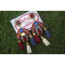 Zarcillos O Aretes Cristal Luxury Rojo, Azul Rey Y Blanco